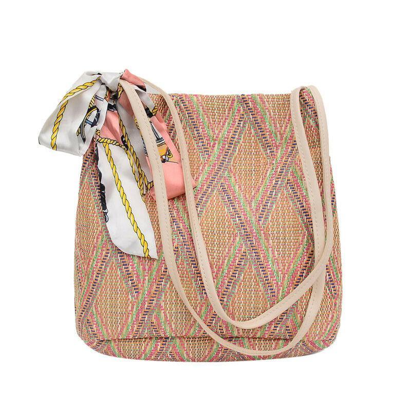 bolso de seda de la bufanda de playa bolsa de ratán verano tejida a mano de la paja bolsa de estilo bohemio de las nuevas mujeres