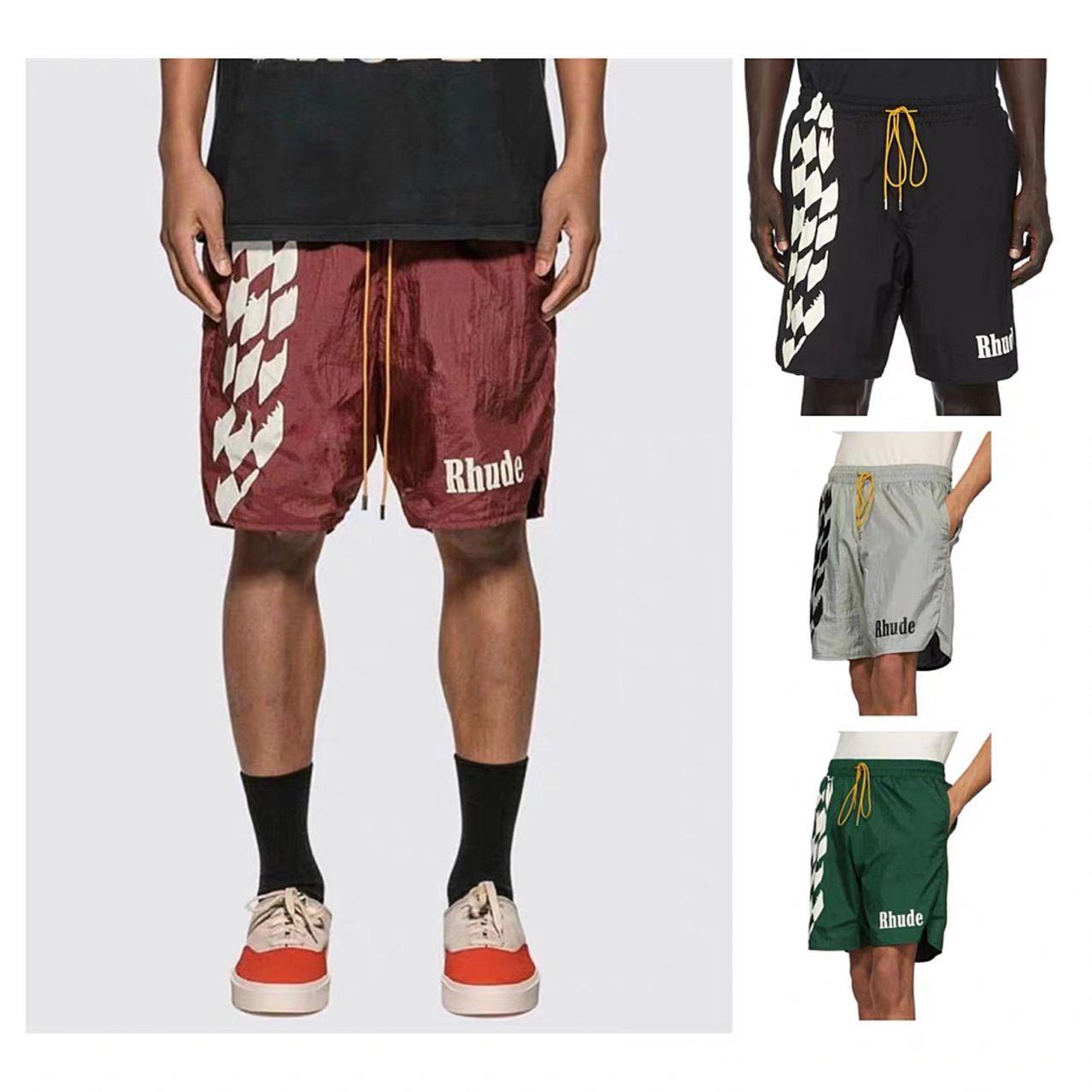RHUDE 20ss Bahar ve Yaz Yeni Erkek Tasarımcı Şort Pantolon Dama tahtası High Street Tide Avrupa ve Amerikan Trend Çift Spor Şortlar