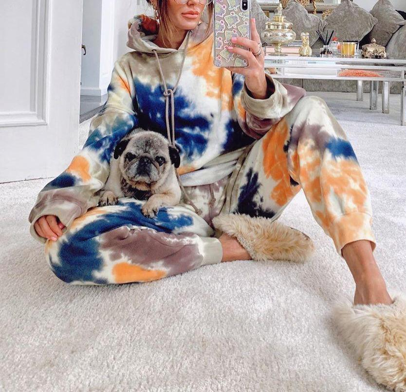 Women Jogging Suit 2 Pieces Tracksuit Tie-dye Printed Sweatsuit Casual Long Sleeve Hoodie And Sweat Pants Two Piece Set Outfit
