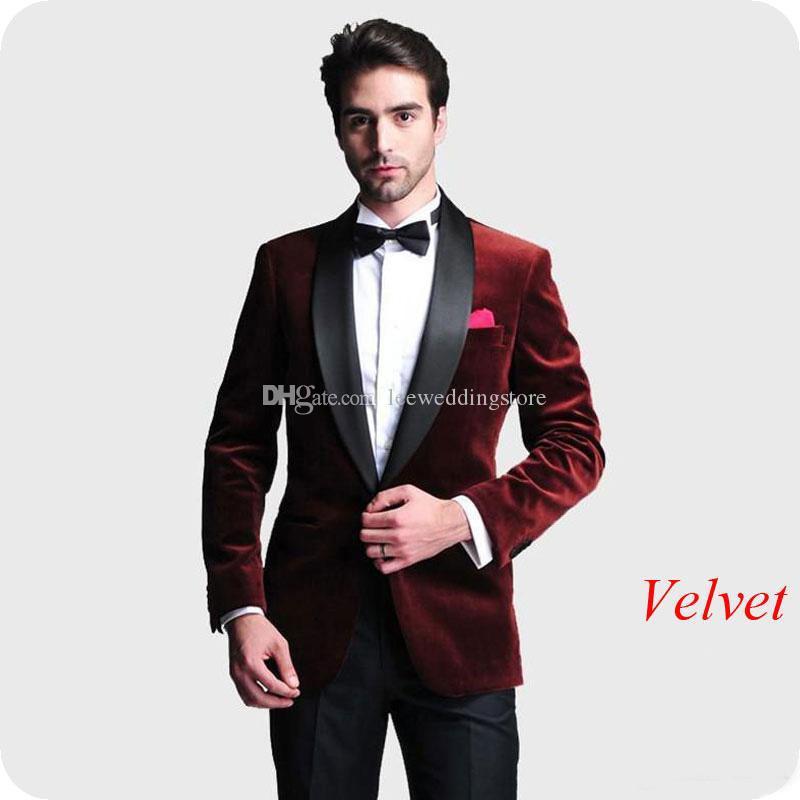 2019 Burgundy Velvet Mens Wedding Suits Bridegroom Tailor Male Blazer Smoking Jacket 2Pieces Slim Fit Formal Groom Tuxedos Evening Dress