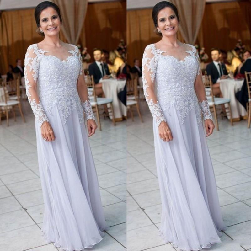 Élégant lilas robes de la mère pour le mariage une ligne bretelles en mousseline de soie pailletée Appliques manches longues Personnaliser Mère de robe de mariée Groom