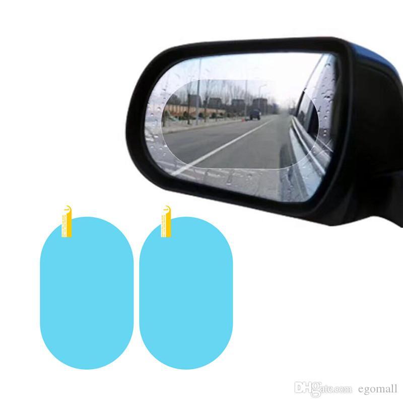 2PCS / مجموعة مكافحة السيارات الضباب النافذة مرآة واضحة السينمائي مكافحة الضباب سيارة مرآة الرؤية الخلفية فيلم واقية للماء المعطف ملصق سيارة