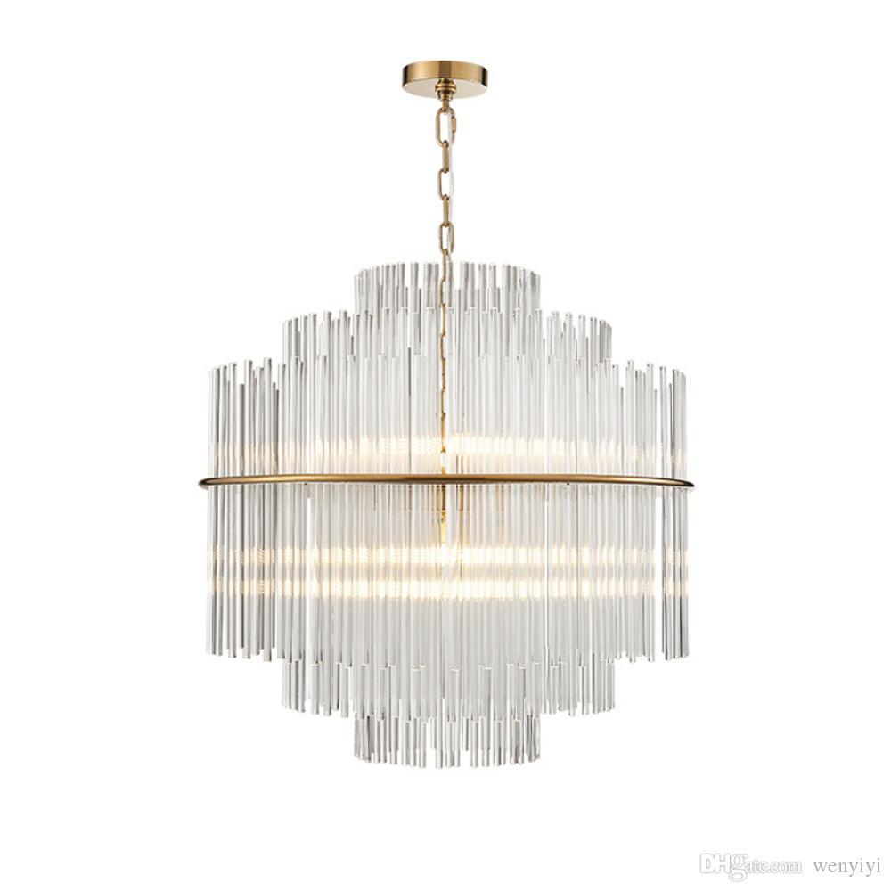 Modern LED Lustre de Iluminação de Luxo Sala de Estar De Vidro Rod Pendurado Luz Rodada Lâmpadas de Cristal de Decoração Para Casa de Luxo