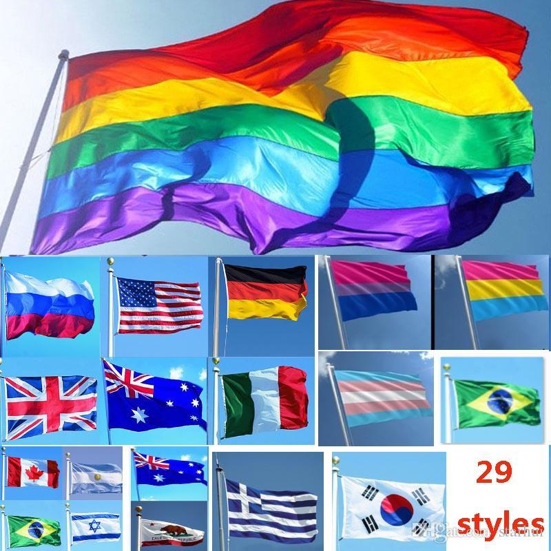 3 * 5ft 90 * 150cm Drapeaux Arc En Ciel Et Bannières Lesbian Gay Pride LGBT Drapeau Polyester Coloré Drapeau Pour La Décoration 26 Conception WX9-216