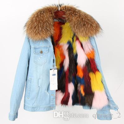 2019 marrone pelliccia di procione trim Maomaokong marca multicolore pelliccia di volpe fodera luce blu demin giacche donna pelliccia di volpe mini parka