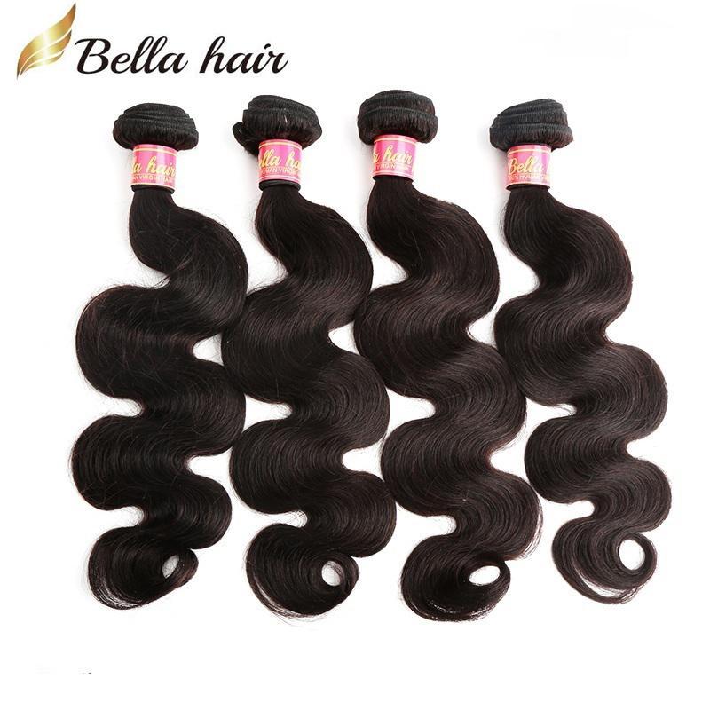 100% indisk mänsklig hårförlängning naturlig färgkroppsvåg 4st / lot mix längd 8 ~ 30 tums väven bellahair