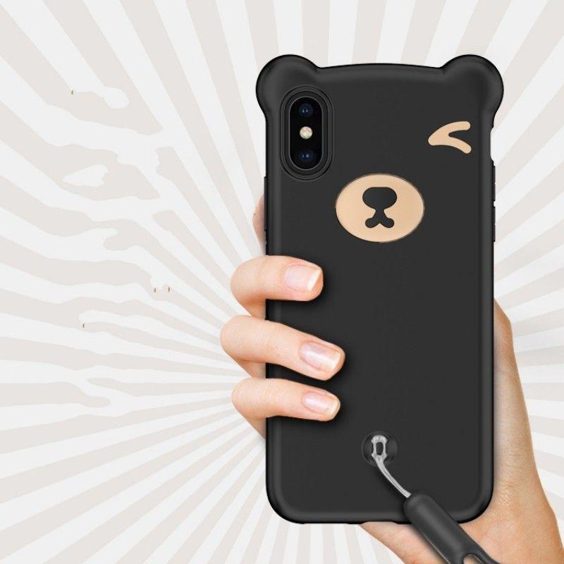 Custodia in silicone 3D Bear per iPhone X XS Custodia MAX XR Custodia in silicone per iPhone 6 6s 7 8