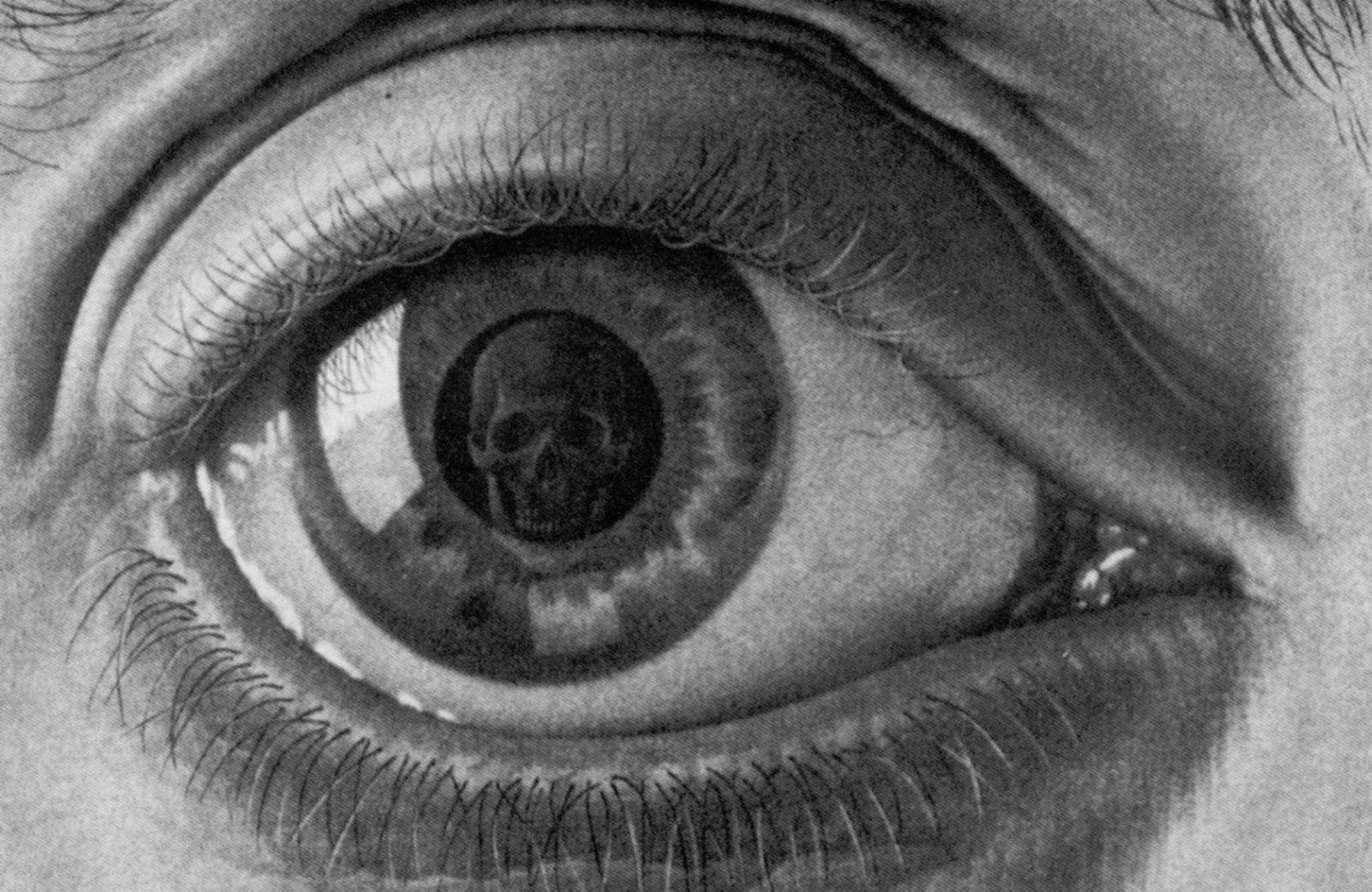 Crâne Gothique dans la Human Eye Art Silk Print Poster 24x36inch(60x90cm) 087
