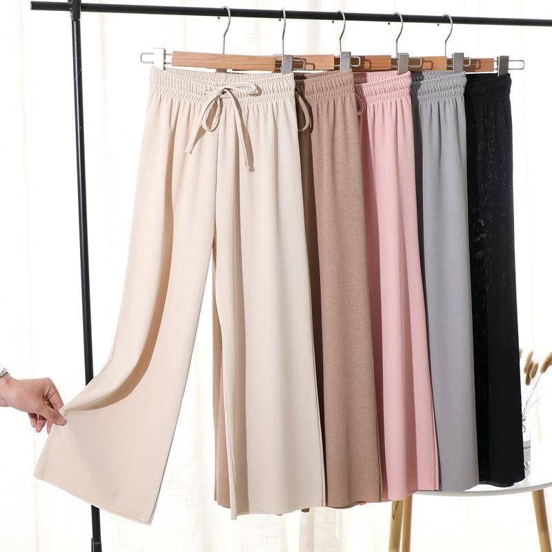 2020 nuevos pantalones de verano de las mujeres de seda fina de la pierna ancha pantalones sueltos altura del tobillo Casual altos pantalones elásticos de la cintura del tamaño S ~ 2XL C09