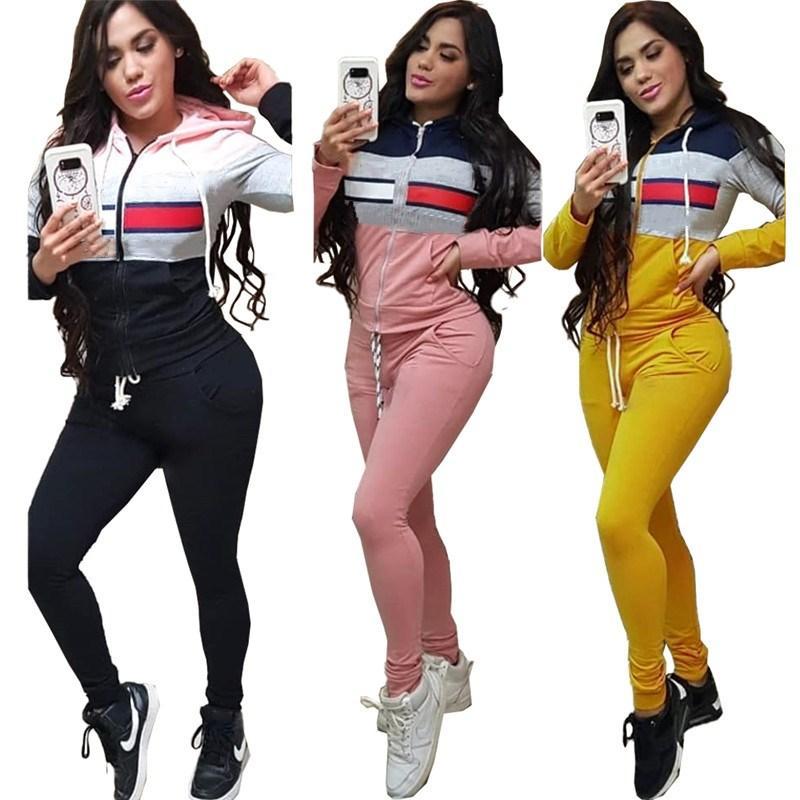 Womens Treino duas peças conjunto de roupas leggings manga longa jaqueta cair Suits Jogging Sports Sportswear klw3164 muito quente