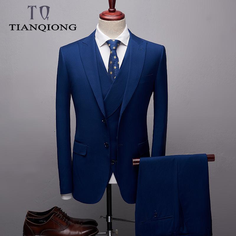 2019 New Blue Boutique Suit Men 2019 Slim Fit Groom Wedding Suit Blazers Coat Trousers Waistcoat Formal Business Dress Suits