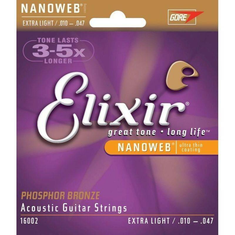 Elixir 16002 نانويب سلاسل الغيتار الصوتية ضوء إضافي 10-47 الفوسفور البرونز