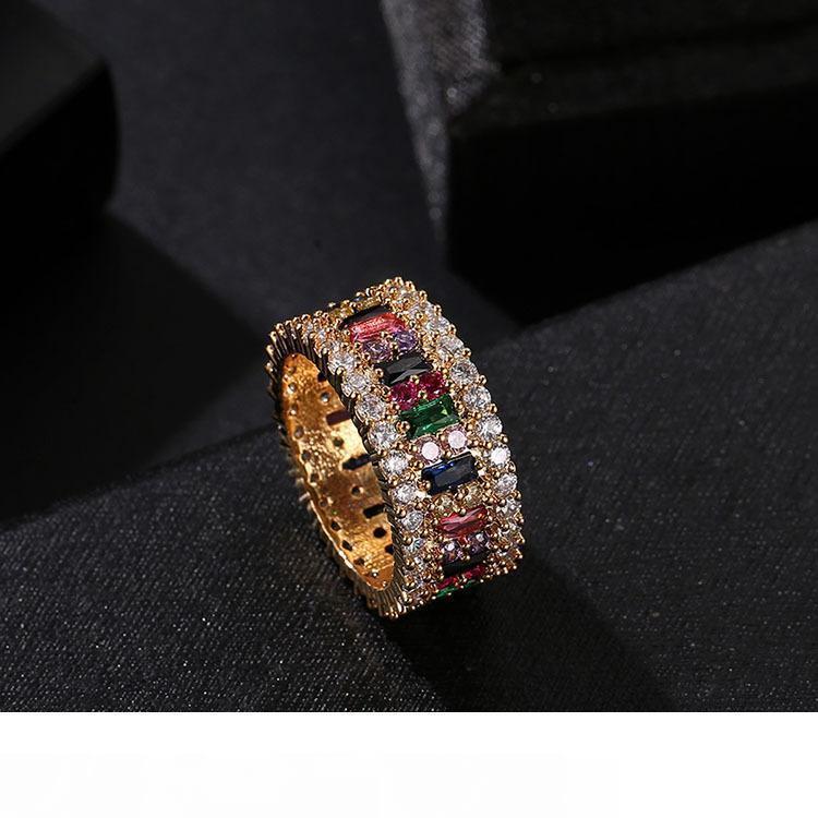 Роскошные дизайнер кольцо женщин 6-9 класса люкс позолоченные Радуга кольца микро проложили 7 цветов цветок свадебные украшения женщин