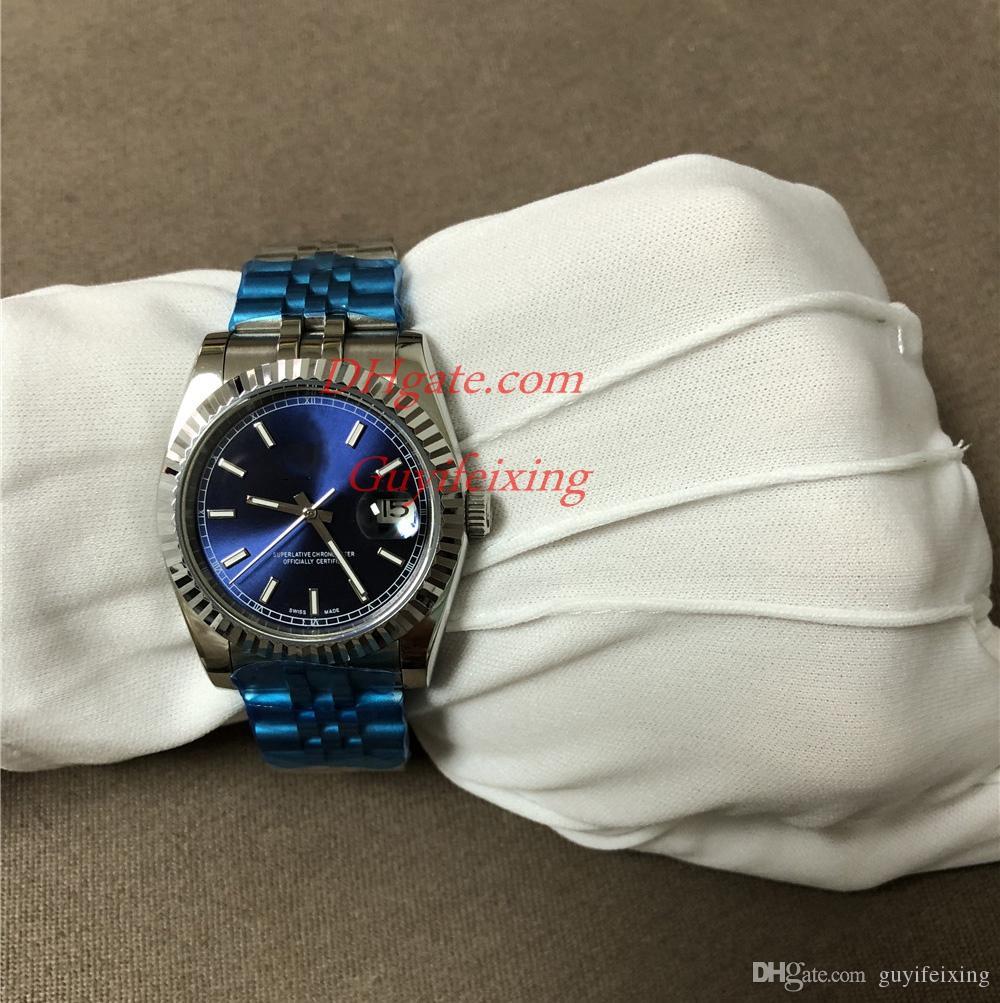 Роскошные мужские Женщины Часы 116234 Синие лица Автоматические часы Механический сапфир Оригинальная зажечь из нержавеющей стали Пара Унисекс наручные часы