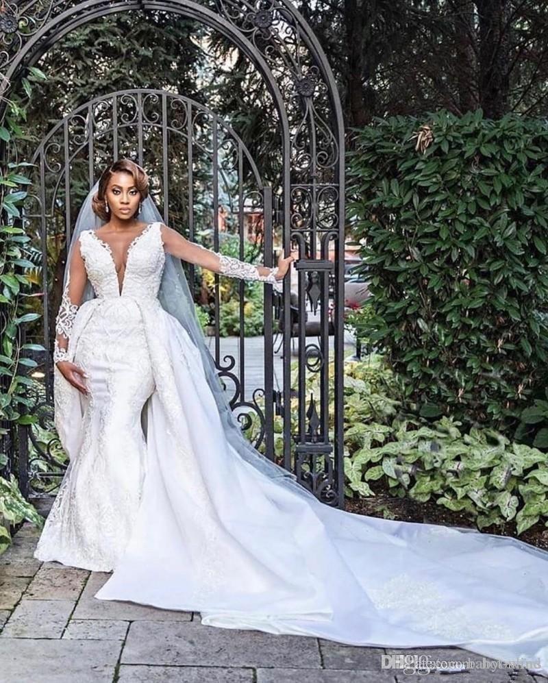 Dubai Arabic African Plus Size Lace Mermaid Wedding Dresses With