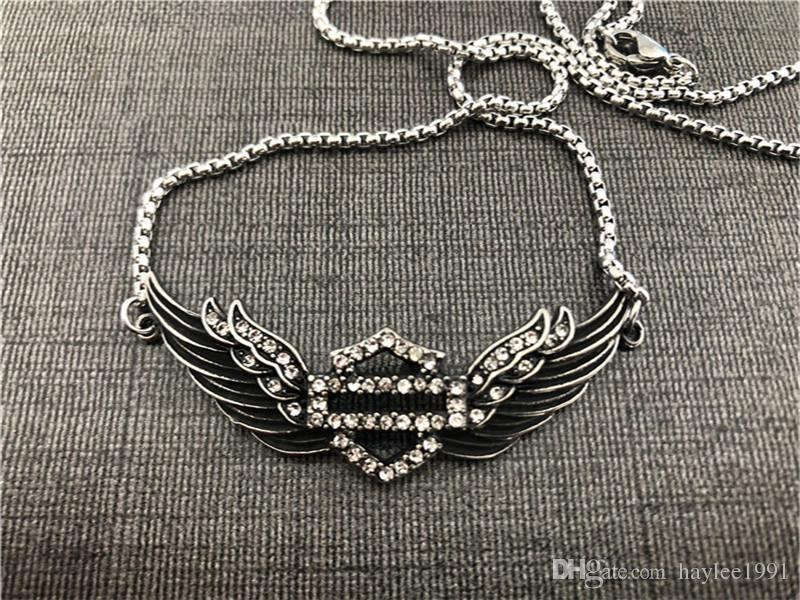 Joyería del collar de apoyo Dropship Motocicletas Crystal Clean pulsera de acero inoxidable 316L del motorista dama de la moda niñas pulsera de las alas