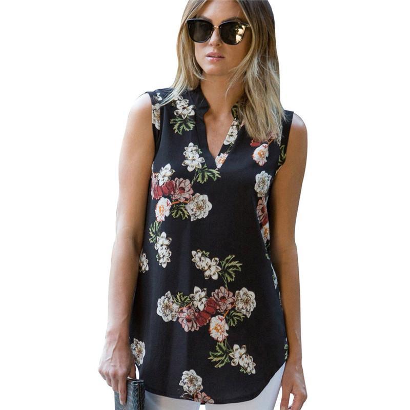 Vintage Floral Print Blouse Shirt 2019 Summer Sleeveless Chiffon Blouse Sexy V Neck Women Shirts Casual Loose Chemise 0.5