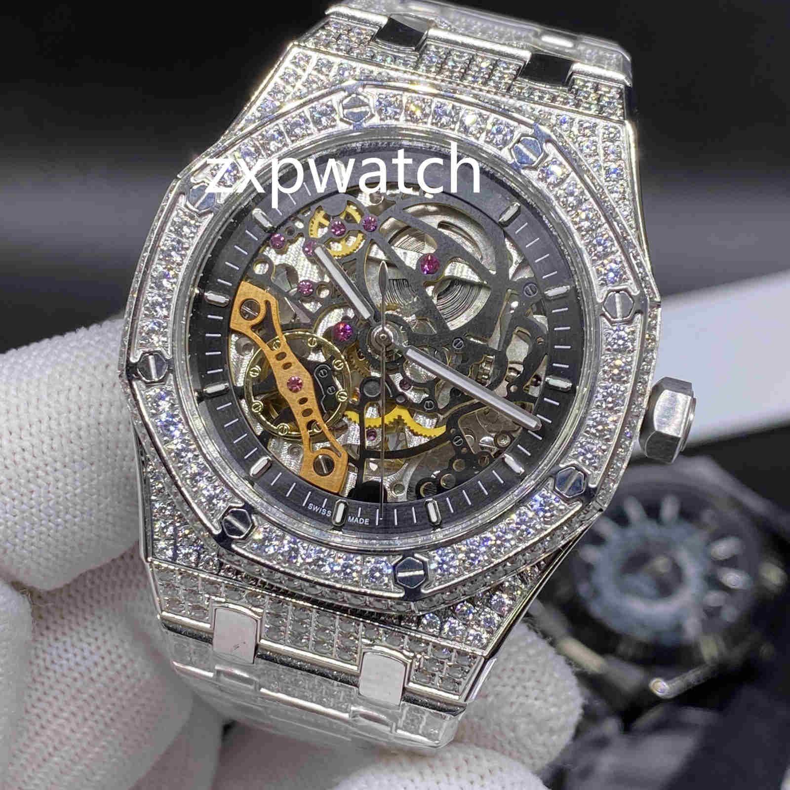 Cheap pieno di diamanti Hip Hop Orologio da polso Ice Diamante Orologi cavità di modo orologio d'argento cassa in acciaio 42MM orologi automatici