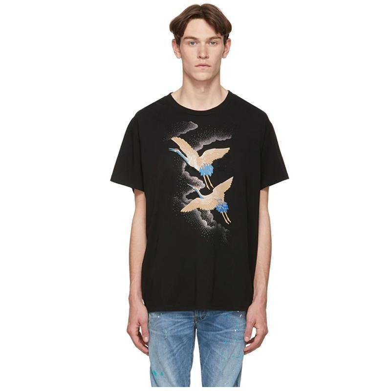 패션 남성 스타일리스트 T 셔츠 여름 T 셔츠 크레인 인쇄 높은 품질의 T 셔츠 힙합 남성 여성 반소매 티셔츠 사이즈 S-XXL