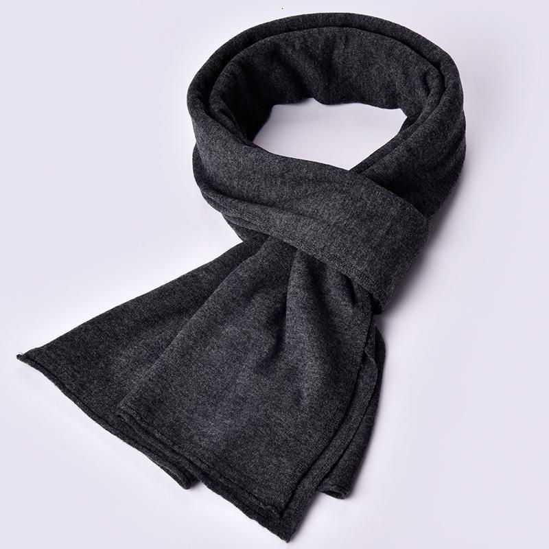 Sciarpa pura lana 100% per gli uomini di modo di marca solido Autunno Inverno Sciarpe maschile calda lana scialli di alta qualità a maglia Bandana T191118