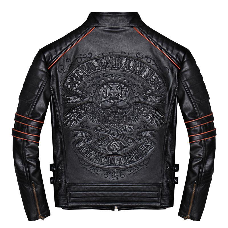 2019 ريال جلد البقر قصيرة للدراجات النارية معطف الرجال السود الجماجم التطريز صالح سليم السائق سترة جلدية زائد حجم 4XL