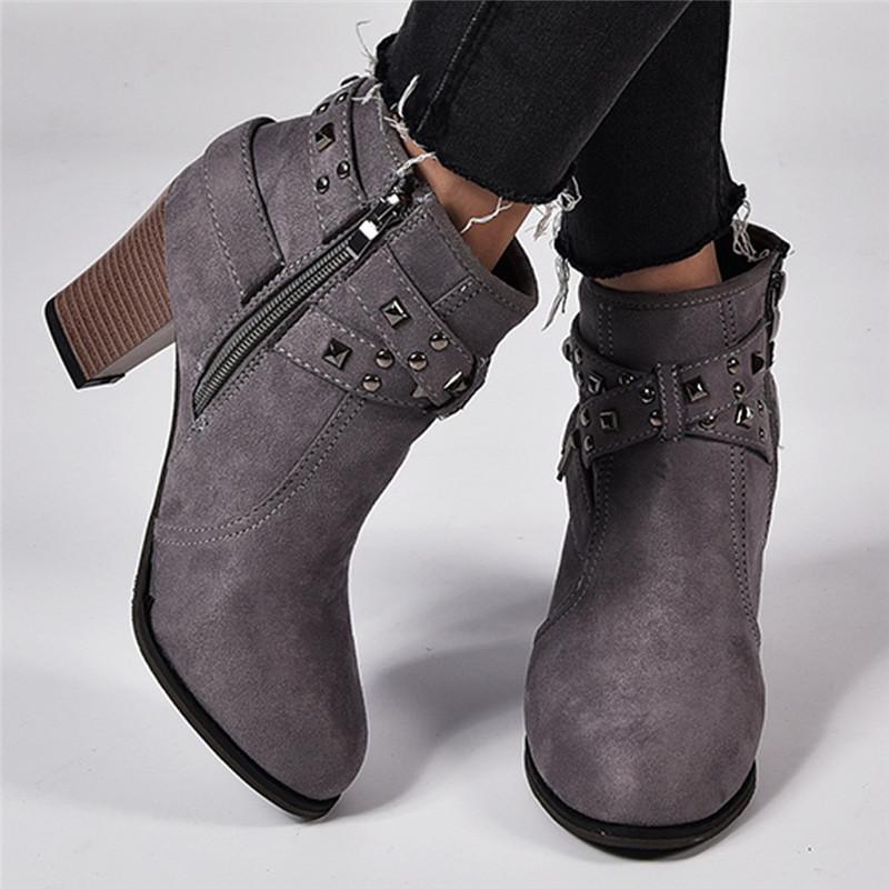 Sonbahar fermuar perçin süet Kadınlar Kış pamuk ayak bileği Boots kadın Yuvarlak Burun ayakkabı T200104 s