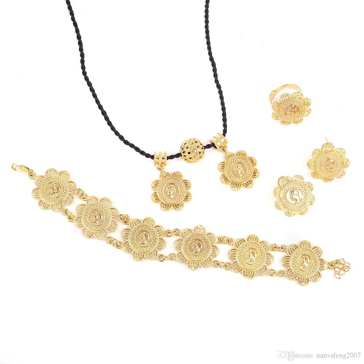 Conjuntos de joyas de monedas de color dorado de mujeres etíopes 22 K Conjuntos de joyas de etíope de color oro para fiesta y compromiso