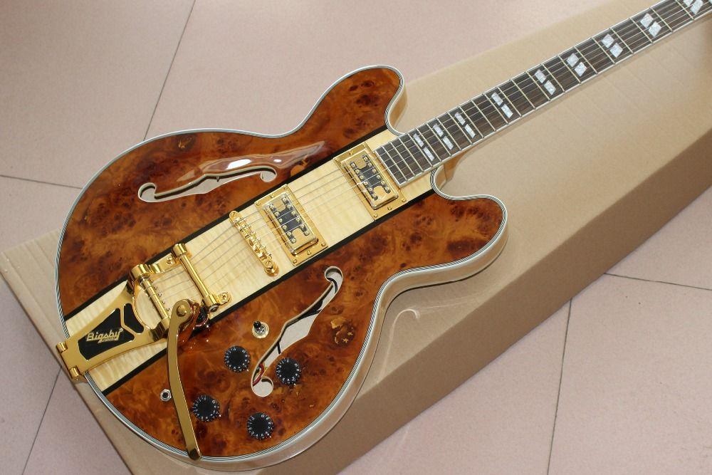 최신 고품질 F hollow body jazz 일렉트릭 기타, Gold Vibrato, Spalted + Flame Maple 탑, 로즈 우드 핑거 보드 기타