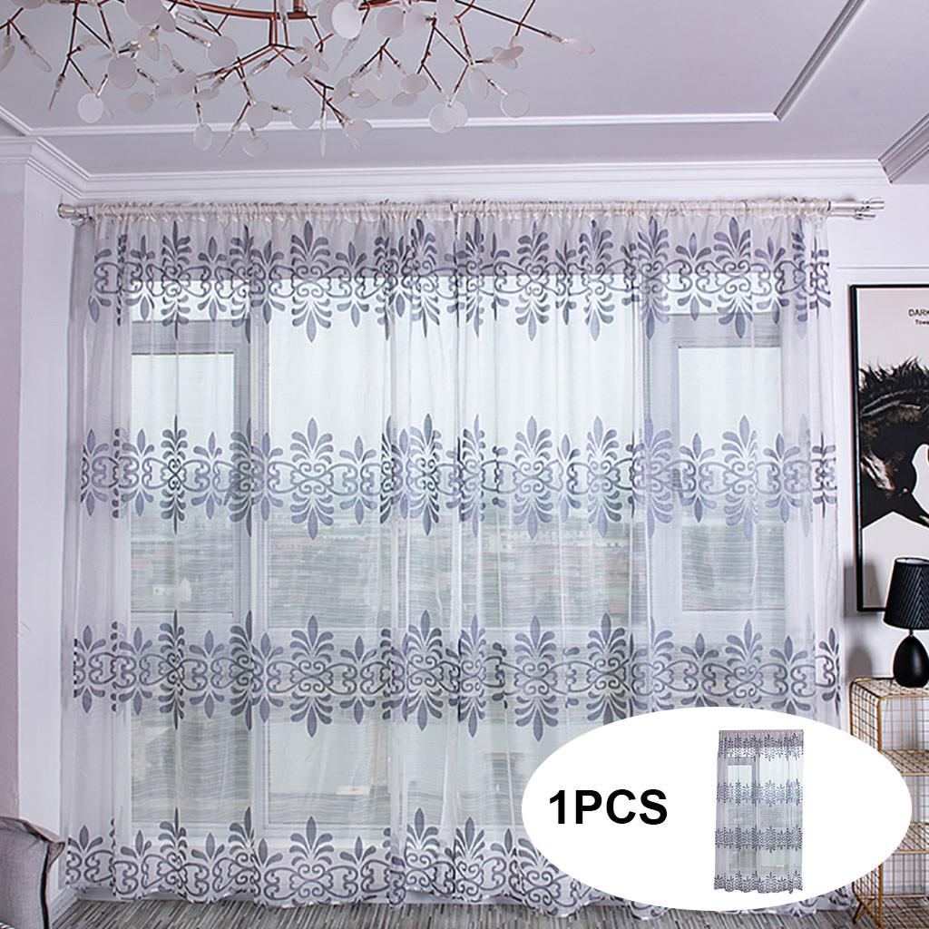 White Star Tulle Modern Curtains for Living Room Transparent Window Drape Sheer