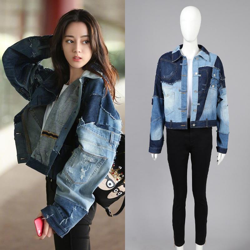 blue denim jacket streetwear style eyes jeans jacket Ladies Denim jacket women jacket