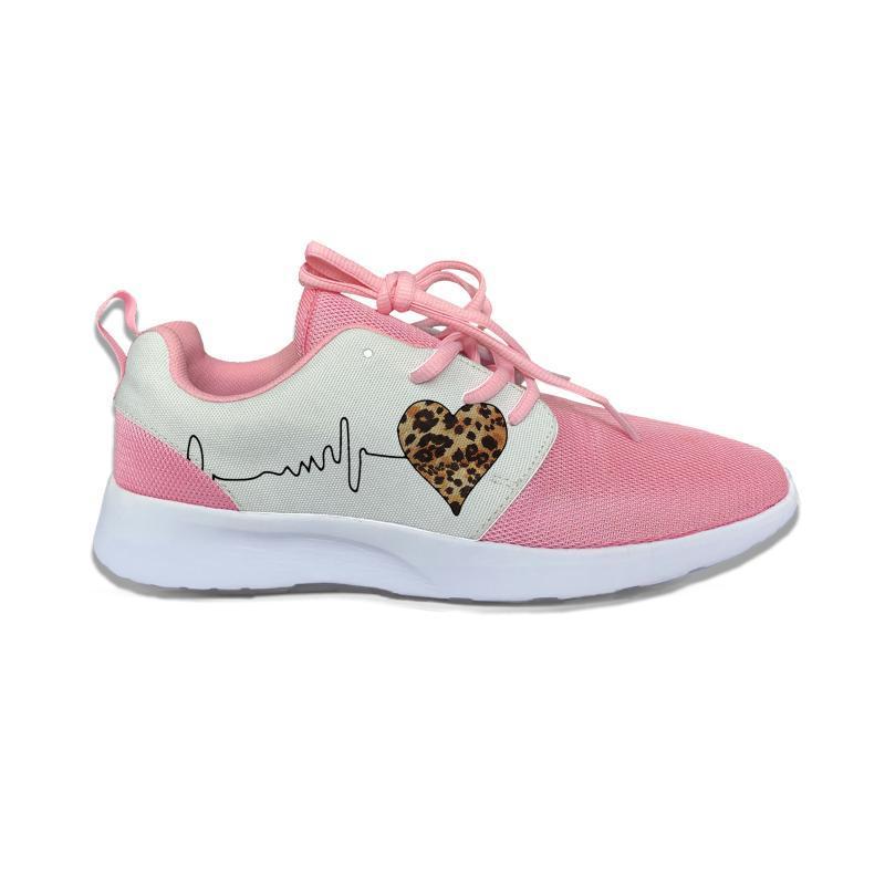 El latido del corazón del estampado leopardo de lindo divertido de los cabritos del deporte de los zapatos corrientes ocasionales respirables Ligera 3D Print zapatillas de deporte de los muchachos muchachas de los niños