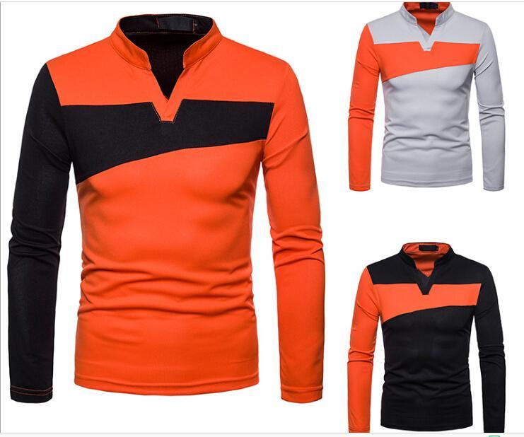 패치 워크 폴로 셔츠 남자 긴 소매 폴로 셔츠 남자 스탠드 칼라 캐주얼 셔츠 남자의 단색 조랑말 셔츠 Camisa 티 J181201