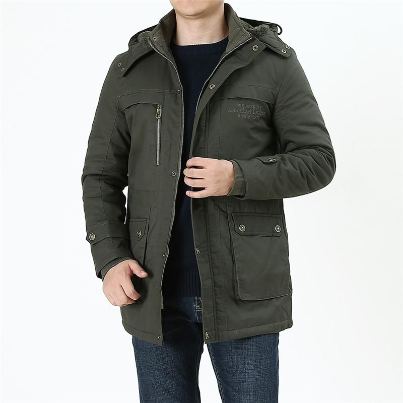 Inverno Parka Homens Quente Jaqueta À Prova de Vento Nova Moda Engrossar Masculino Casaco de Alta Qualidade de Lã de Algodão-Acolchoado Mid-Longos Casacos