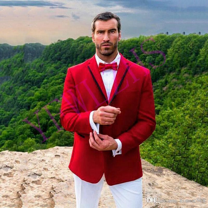 Tutti Loved due pulsanti Groomsmen Notch risvolto smoking dello sposo abiti da uomo da sposa / Prom / Cena Best Man Blazer (Jacket + Pants + Tie) A691