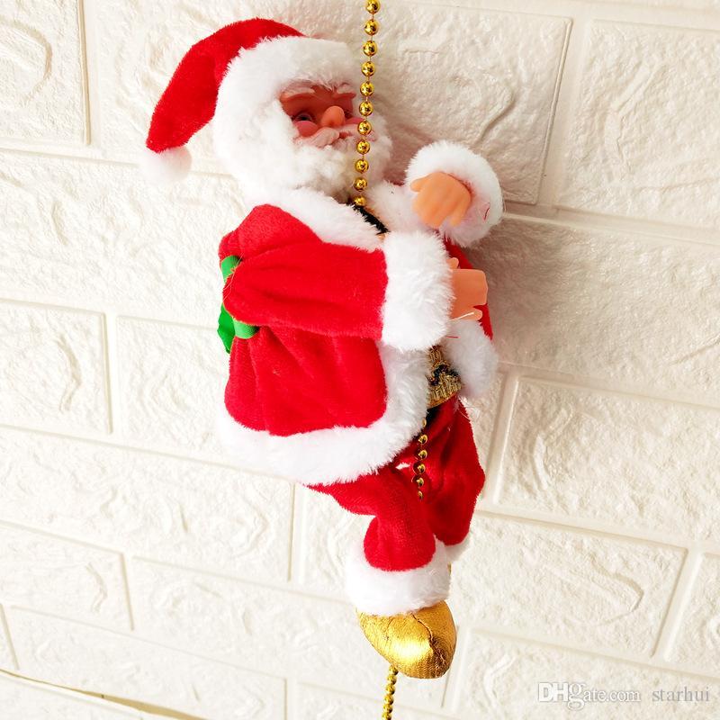لطيف سانتا كلوز الكهربائية زينة عيد الميلاد سانتا كلوز الأطفال الكهربائية لعب سانتا كلوز ألعاب تسلق سلالم حزب WX9-1796