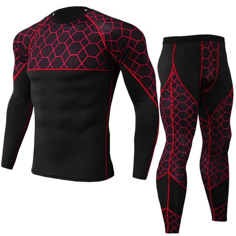 2 pezzi Tuta Uomini compressione maniche lunghe kit maglietta camuffamento Felpa + leggings fitness biancheria intima termica Dec26