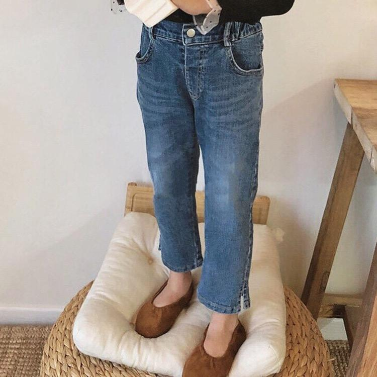 JK Korean Style Newest Fall Kids Girls Jeans Denim Trousers Quality Designs Pockets Elastic Waist Autumn Children Unisex Pants