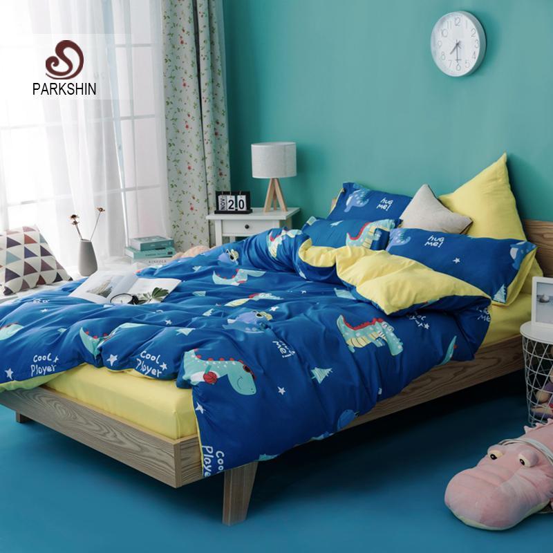 ParkShin Karikatür Yatak Seti Dinozor Mavi Yatak Örtüsü Sarı Yatak Düz Levha Yastık Kılıfı Nevresim Çift Kraliçe Kral Tek Kişilik Yatak