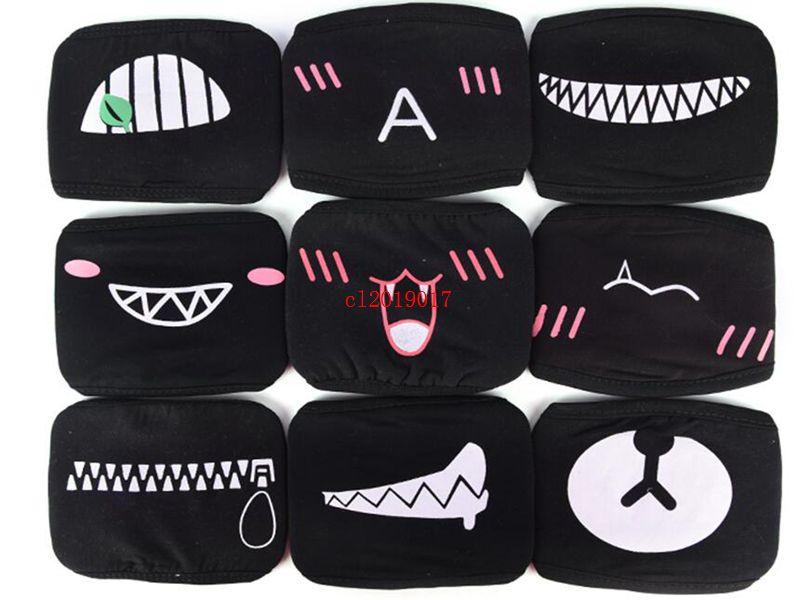 Neue Ankunfts-Frauen-Mann-schwarze Anti-Staub-Baumwollnette Bär Anime Cartoon-Mund-Maske Kpop Zähne Mund Mode Muffle Gesicht Mundmasken