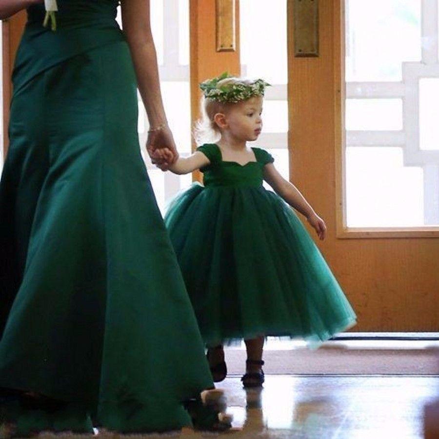 Cute Dark Green Tulle Kid Pageant Dresses For Little Girls Ball Flower Girl Dresses Daughter Dresses