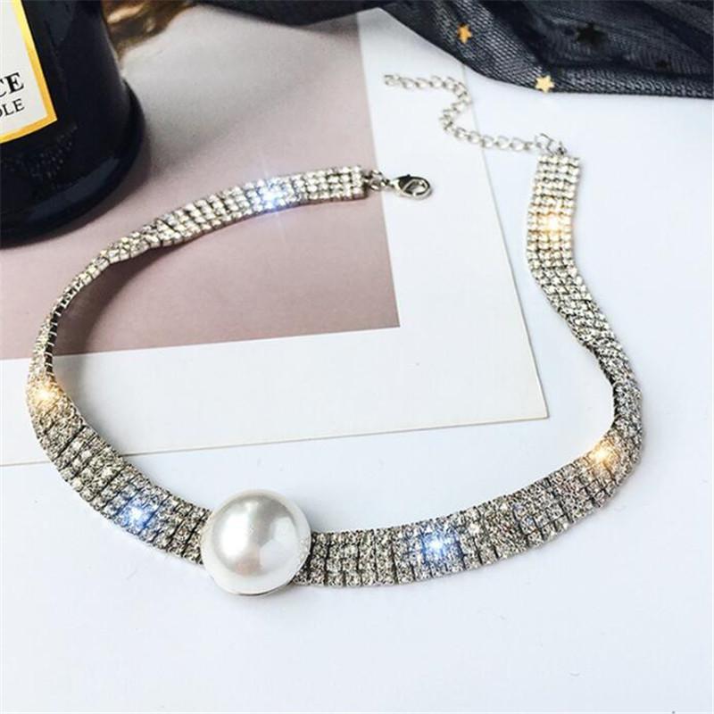 Rhinestone lleno Gargantilla Collares para mujeres Bijoux Declaración de color oro perla cristalina de los esfuerzos de torsión Collares regalos del partido
