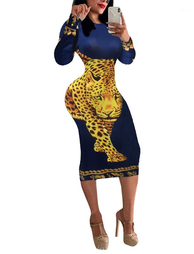 Rosto impresso Luxo Vestido Sexy Womens Bodycon Vestidos animal Moda Impresso Long Sleeve magro Vestidos de Poker