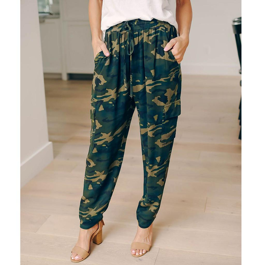 Women Camouflage Army Green Stretch Leggings Pants Womens Camo Cargo Trousers Casual Pants Combat Camouflage Z416