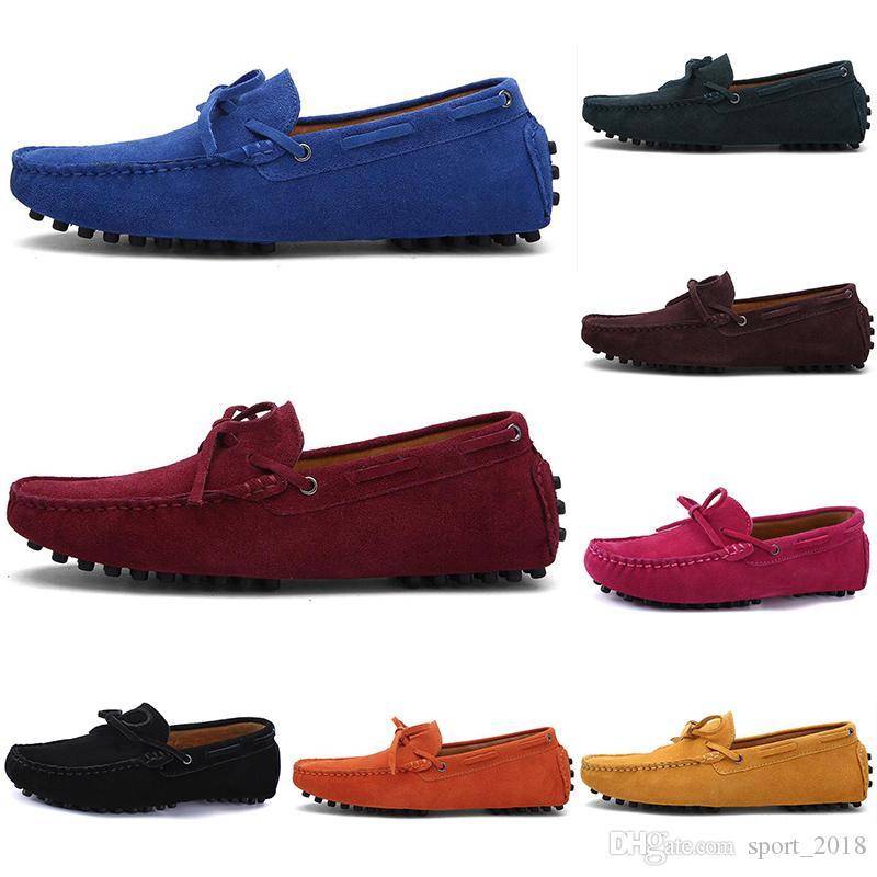 2020 дизайнер роскошные эспадрильи Мужчины Женщины Повседневная обувь черные мокасины плоские замши скольжения на мода мужские кроссовки Кроссовки размер 39-46 color9