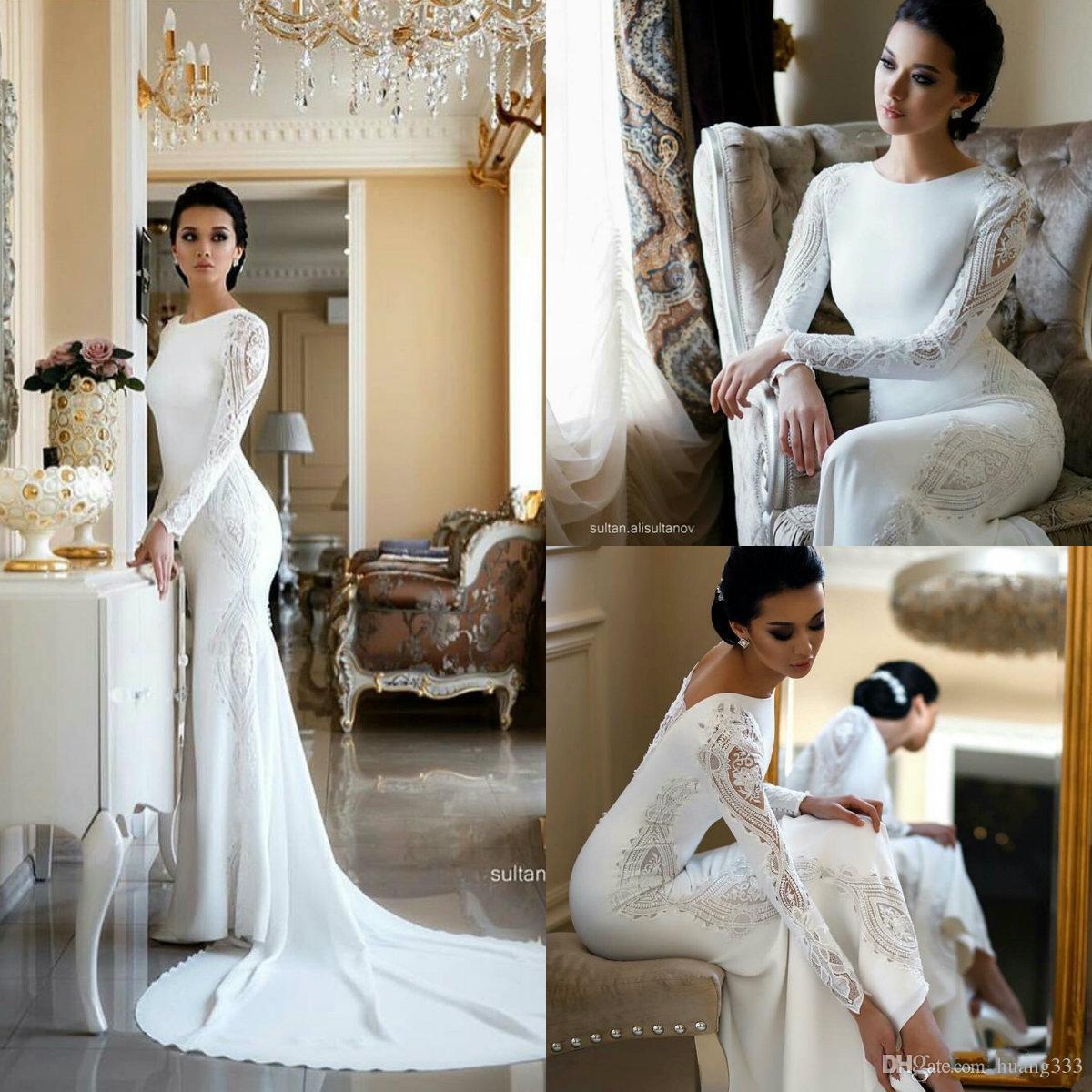 New Modest Mermaid Wedding Dresses Lace Appliqued Beaded Berta Sweep Train Boho Wedding Dress Bridal Gowns Plus Size Sleeves abiti da sposa