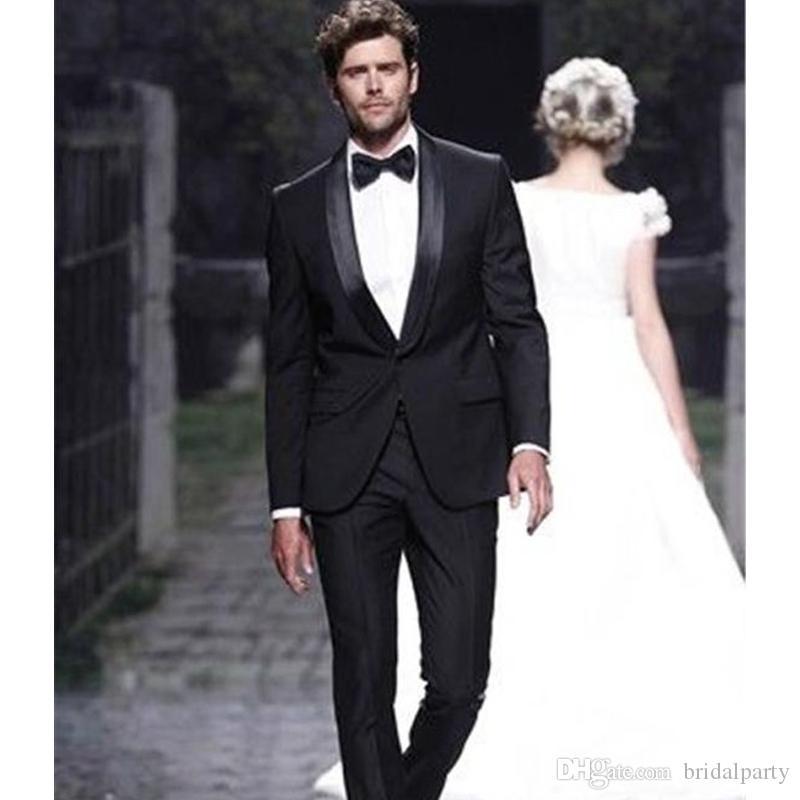 Siyah Groomsmen Mens Düğün için Suits 2 Parça İtalyan Damat Takım Elbise Slim Fit Özel Adam Düğün Smokin Takım Elbise