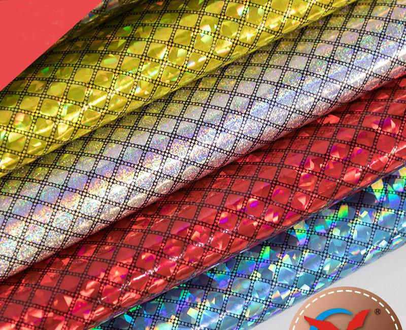Plaid Laser Fabric Leather High-grade Multifunction Fabric Indoor Smooth Casual Style Sewing Must Fabric Free Shipping