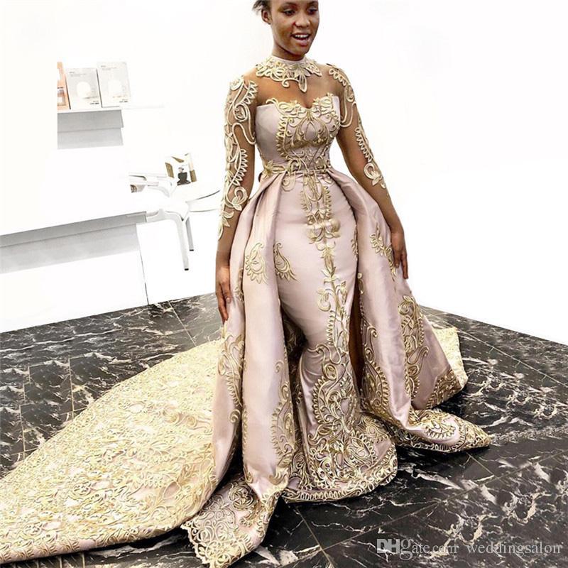 وردي فاتح مع الذهب يزين فساتين الزفاف قطار للانفصال الرقبة العالية الوهم كم ثوب الزفاف قطار المحكمة الحرير
