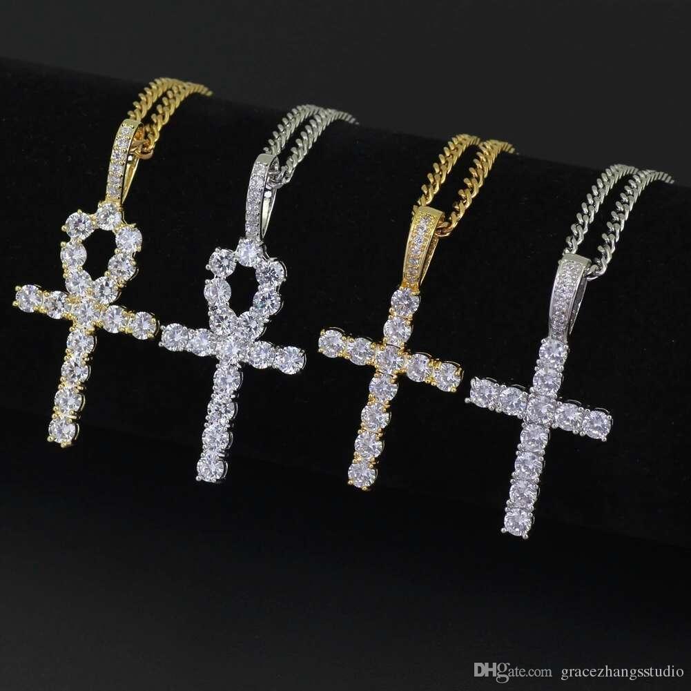 Hip-Hop-Quer Diamanten Anhänger Halsketten für Männer Frauen Religion Christentum Luxuxhalskette Schmuck vergoldet Kupfer Zirkone Cuban Kette