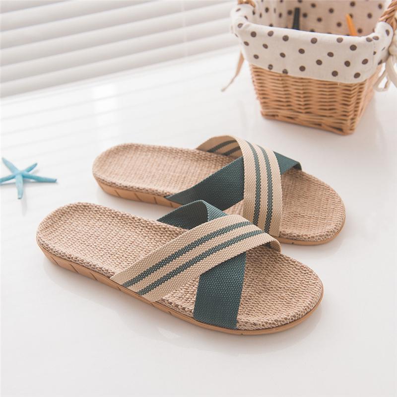 Flip DAILOU Uomini Biancheria Flops a strisce del nastro sandali piatti antisdrucciolevoli Lino Slides Pantofole uomo casual scarpe di paglia Beach